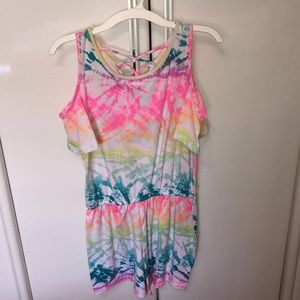 GIRLS COLD SHOULDER TIE DYE ROMPER (14)
